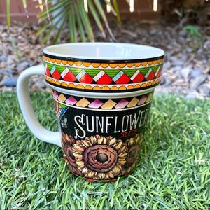 Vintage Sunflower Seeds Floral Coffee Tea Mug Cup